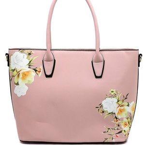 Handbags - Rose Flower Printed Shopper